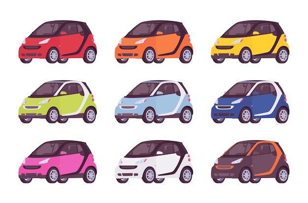 Set of mini electric car in in different colors