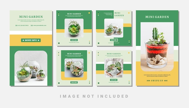 Set of mini garden instagram social media feed and stories template