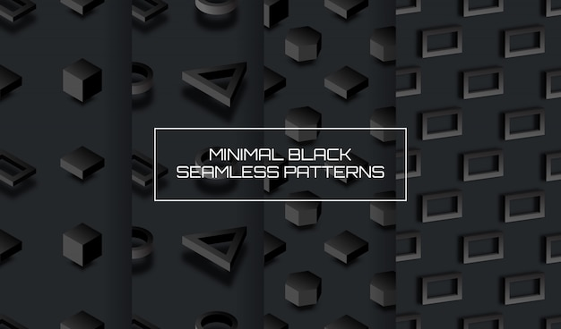 Set of minimal black background with geometric 3d figures