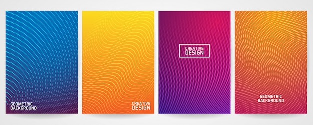 Set of minimal cover design with modern geometric pattern