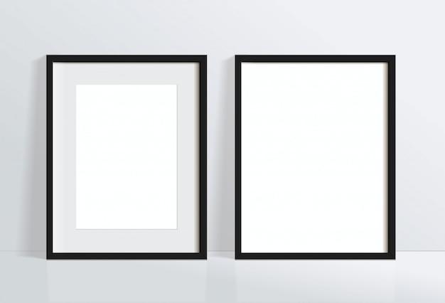 Установите минимальное пустое вертикальное изображение черной рамки, висящее на белой стене. изолировать иллюстрации.