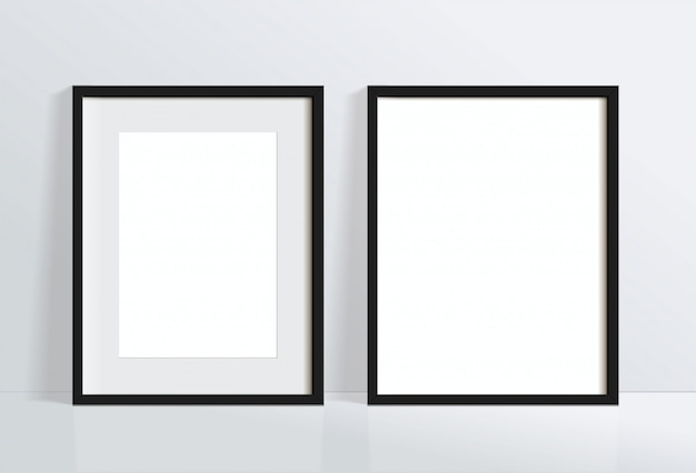 Set minimal empty vertical black frame picture   hanging on white wall . isolate   illustration.