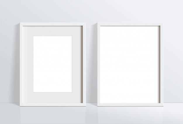 Set minimal empty vertical white frame picture   hanging on white wall . isolate   illustration.