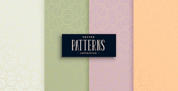 Set of minimal hexagonal style beautiful patterns