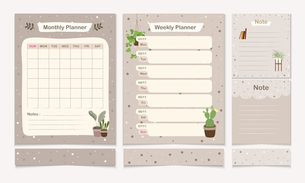 Set of minimal planner templet with monthly, weekly and note page template