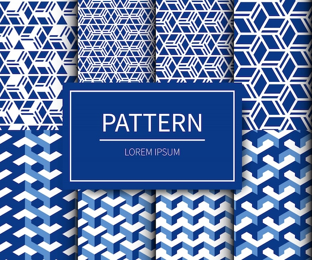 Set of minimal traditionnal fabric japanese pattern style.japanese pattern in blue-white colour tone.