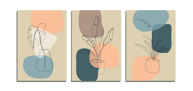 Set of minimalist abstract background with floral line art