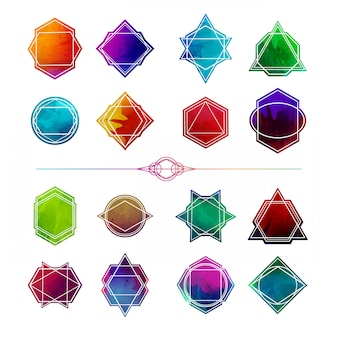 Set minimalist abstract geometric shapes