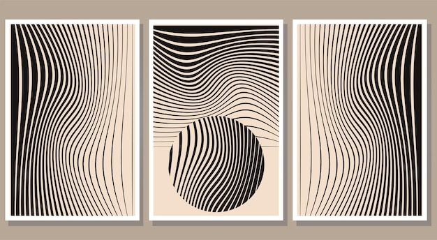 Set of minimalist abstract stripes posters contemporary wall art collection vector illustration