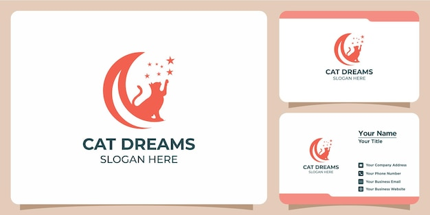Set of minimalist cat logos and business cards