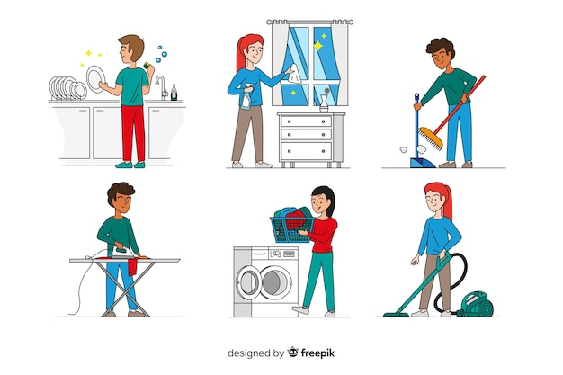 Set of minimalist characters doing housework