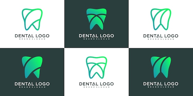 Set of minimalist dental clinic logo design template with modern gradient colour style, premium vekto