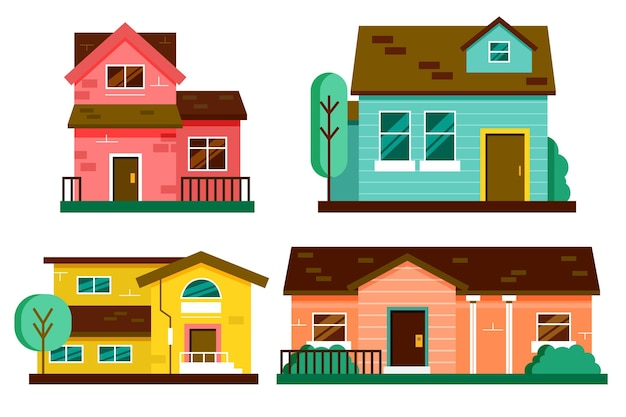 Set of minimalist different houses