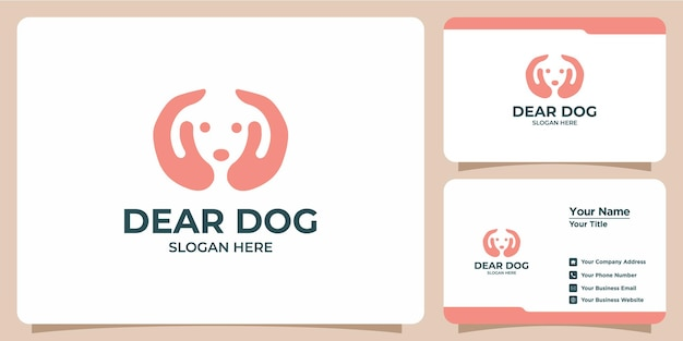 Set of minimalist dog logos and business cards