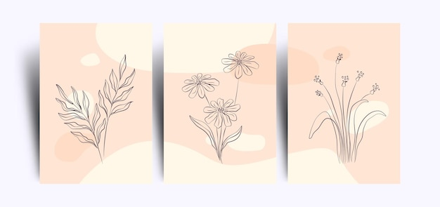 Set of minimalist floral wallpaper with line art style