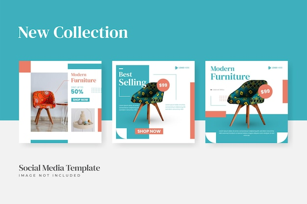 Set of minimalist furniture sale instagram social media post template