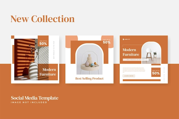 Set of minimalist furniture sale instagram social media template