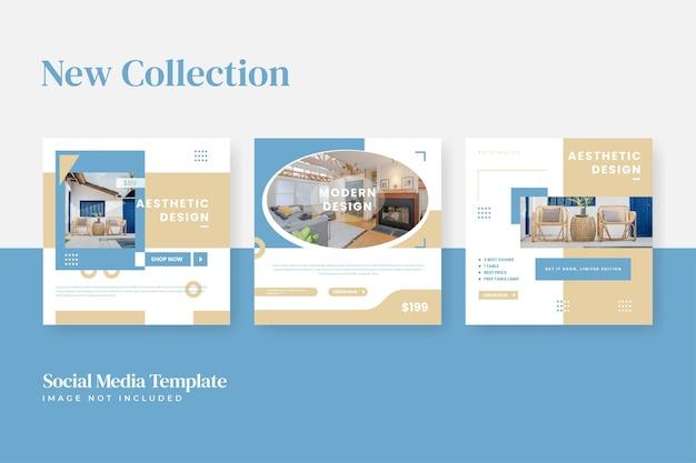 Set of minimalist furniture social media and instagram template