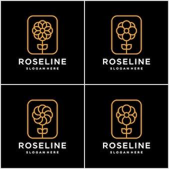 Set of minimalist golden elegant flower logo design with line art concept.