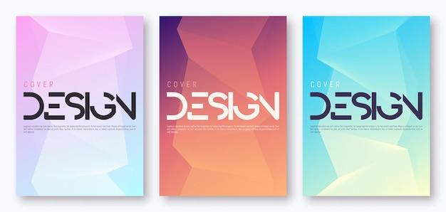Set of minimalist gradient geometric cover design. vector illustration.