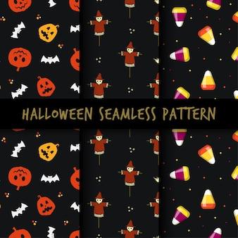 Set of minimalist halloween seamless pattern print design