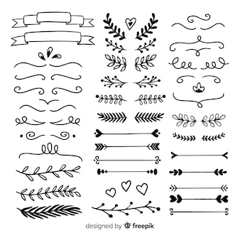 Set of minimalist hand drawn wedding ornaments