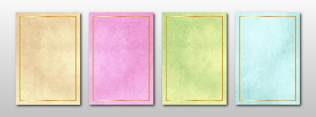Set of minimalist hand painted cards. watercolor texture background.