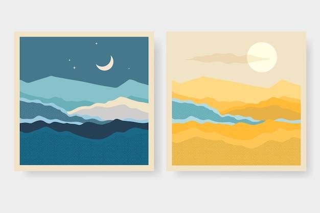 Set of minimalist hand painted landscape illustrations modern background flat design
