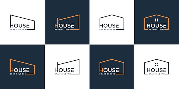 Set of minimalist house logo collection with modern concept premium vector