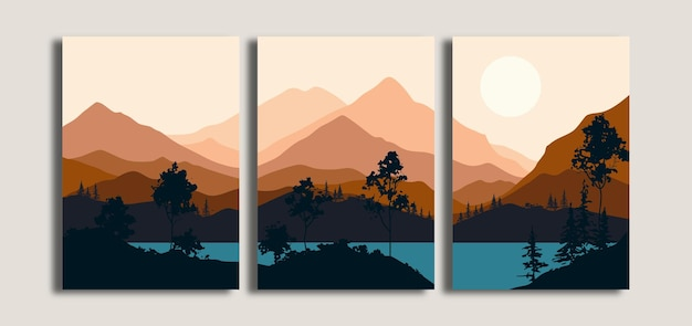 Set of minimalist landscape background with mountain and lake view