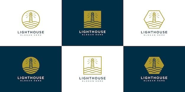 Set of minimalist line abstract lighthouse logo design