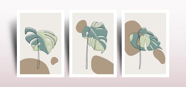 Set of  minimalist line art monstera illustration