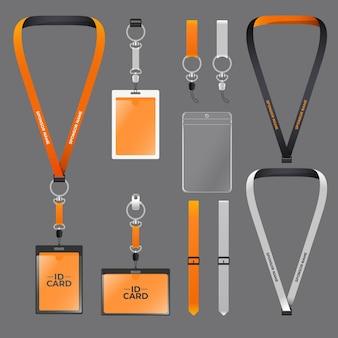 Set of minimalist realistic id card stationery