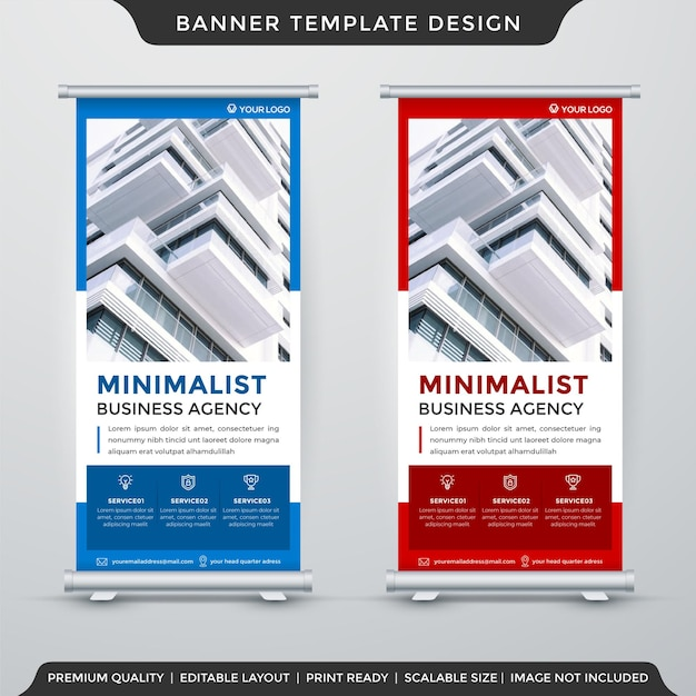 Set of minimalist roll up banner template