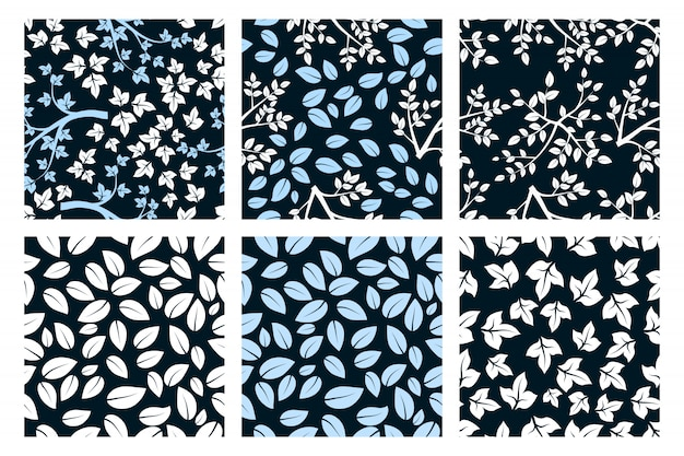 Set of minimalist seamless pattern with white and  blue leaves