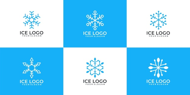 Set of minimalist snowflake ice logo design