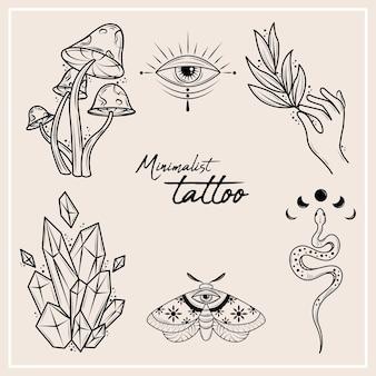 Set of minimalist tattoos