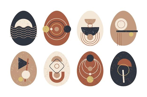Set of minimalistic geometric easter egg with geometric shape elements