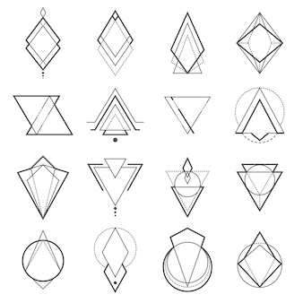 Set of minimalistic geometric elements