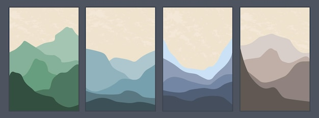 A set of minimalistic monochrome landscapes. abstract mountains for a stylish background.