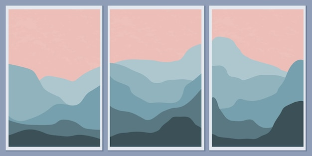 A set of minimalistic monochrome landscapes. abstract mountains for a stylish background
