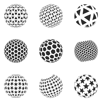 Set of minimalistic shapes. halftone black color spheres isolated on white background