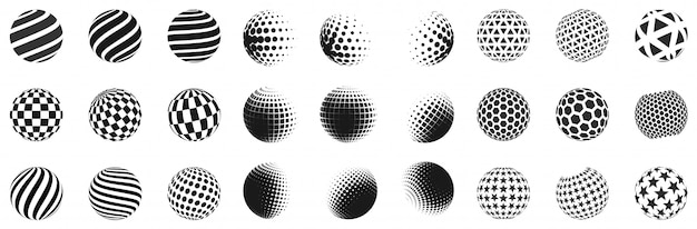 Set of minimalistic shapes. halftone black spheres