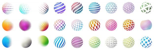 Set of minimalistic shapes. halftone color spheres