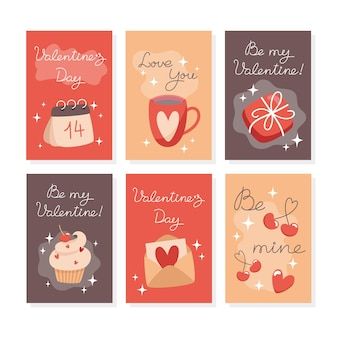 Set of minimalistic valentines day cards in flat style