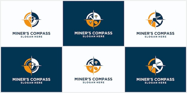 Set of mining logo templates with compass concept. stylish monochrome vector illustration. mining logo template with compass concept.