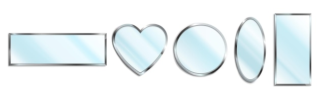 Set of mirrors with chrome frames
