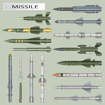Set of missiles and ballistic rocket warhead isolated
