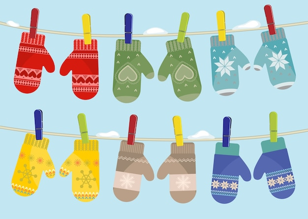 Set of mittens hanging on the rope. winter illustration.