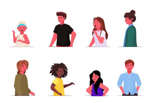 セットミックスレース男の子女の子かわいい子供女性男性漫画キャラクター肖像画コレクション水平イラスト